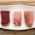 Tres cortes en un mismo plato de atún rojo