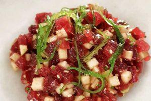 Tartar de atún rojo con manzana